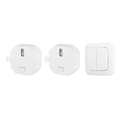 Smartwares Funk-Wandschalter-Set – 2 Funkwandschalter, EIN Doppel-Lichtschalter, Plug & Connect, 1000 W, SH4-99562, weiß