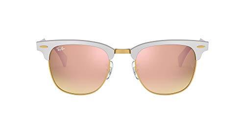 Ray-Ban Unisex-Erwachsene Clubmaster Aluminium Sonnenbrille, Mehrfarbig (Gestell: Silber,Gläser: kupferverlauf 137/7O), Medium (Herstellergröße: 51)