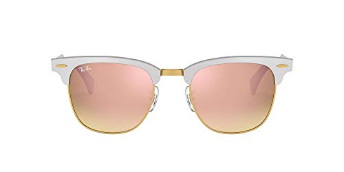 Ray-Ban Clubmaster Aluminum Gafas de Sol, Brusched Silver, 51 Unisex-Adulto