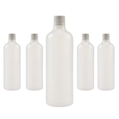 VECCHI 5 x 1000ml Bottiglie Vuote di Plastica, Bottiglie di plastica riutilizzabili, Bottiglie Rotonde con Tappo a Vite, Tappo con Sicurezza per Bambini, Bottiglie vuote, Flaconi HDPE.