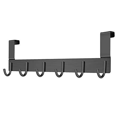 DeYoun Türgarderobe Schwarz, Türhaken aus Alu Gefertigt mit 6 Haken - Türhakenleiste für den Eingang zum Küchenbad - Kleiderhaken Tür - Handtuchhalter Tür Bad - Garderobenhaken Tür - Bis 2cm Türfalz