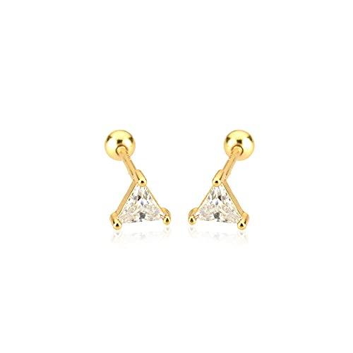 Pendientes triangulares de plata de ley 925 para mujer, joyería, pinzas finas, Piercing de oro negro de verano, perno de cuentas de oro