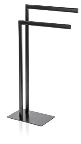 Möve Velvet Handtuchhalter, Metall, Black, 30x20x82 cm