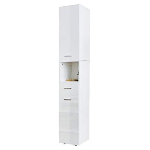 YOLEO Columna de Baño Blanco Brillante, 185 * 30 * 31cm, Mueble de Baño Madera