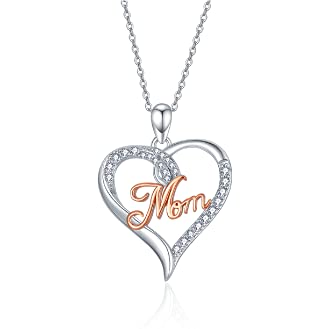 PRAYMOS Mom - Collar de plata de ley 925 para mujer con colgante de corazón, para el día de la madre, cumpleaños, día de San Valentín, regalo de aniversario