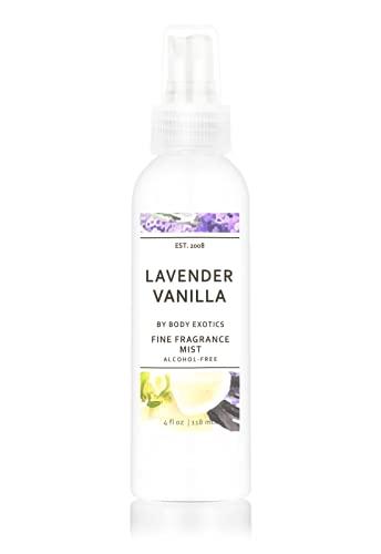Lavender Vanilla Perfume Alcohol-free Fine Fragrance Mist by Body Exotics 4 Fl Oz 118 Ml ~ a Heavenly Blend of Lavender and Creamy Vanilla