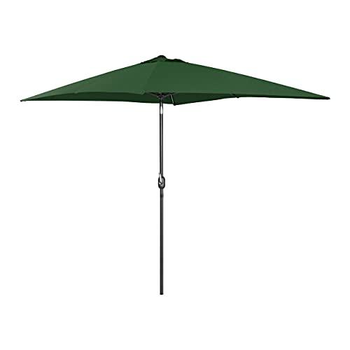 Uniprodo Ombrellone da Esterno Ombrello da Giardino Uni_Umbrella_TSQ2030GR (Verde, Rettangolare, 200 x 300 cm, Inclinabile, Palo Centrale)