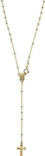 NC96 Collar de Rosario de Oro Amarillo de 14k Crucifijo INRI