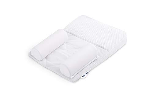 Doomoo Basics – Positionneur de Sommeil pour Bébé Supreme Sleep Small – Coussin Anti Tête Plate et Anti Reflux – Livré avec Deux Rouleaux Latéraux – pour Position de Sommeil Dorsale