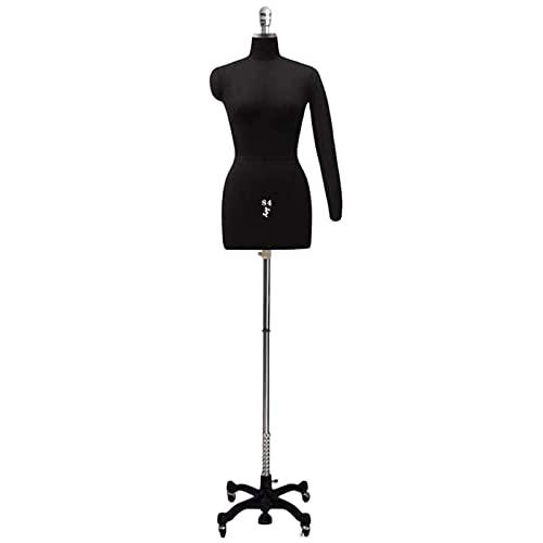 DSDD Maniquí con Forma de Vestido de Costura con Brazo Flexible para Mujer, Muestra Femenina Torso de Cuerpo de maniquí simulado con Ruedas, Altura Ajustable (Color: Negro, Talla: Modelo L 84)
