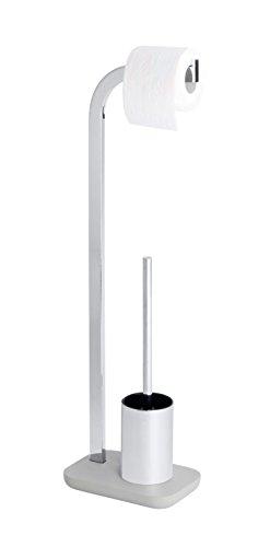 WENKO Stand WC-Garnitur Concrete - WC-Bürstenhalter, Stahl, 22 x 74 x 15 cm, Chrom