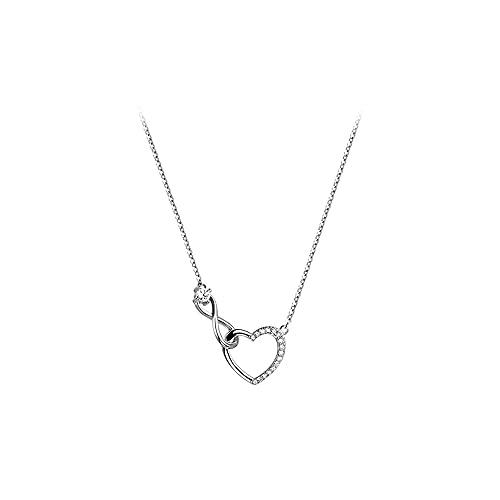 Sxcespp Collar de amor de diamante brillante simple, cadena de clavícula de plata 925 Wild Lady, accesorios de joyería de moda, diseño de cadena de extensión ajustable, incrustaciones de circonita cúb