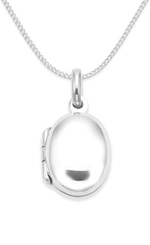 Childrens 925 Sterling Silver Locket Necklace on 15' silver chain - SIZE: small 11mm x 13mm. Gift Boxed Oval Opening Locket 8009/15