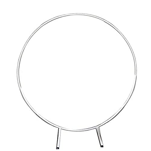 DXDUI Circle Wedding Decorative Arch Flower Shelf Background Decoration Props Arch Made of Iron Suitable for Weddings Birthday Parties Party Baby Shower,Silver,1.5m