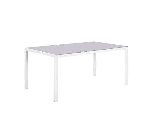 Beliani Aluminium Outdoor Furniture Garden Dining Table Grey Tempered Glass Top Catania