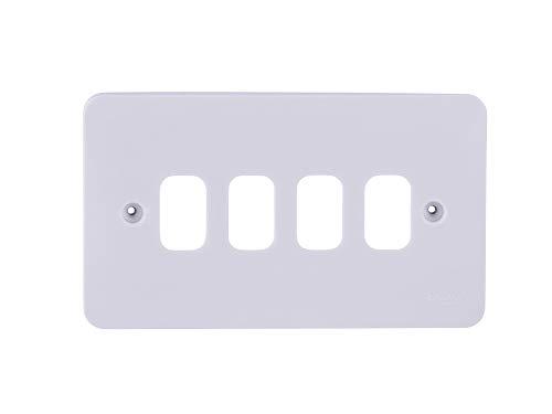 Schneider elektrische GGBL04G Lisse gegoten raster plaat, 4 module, 2 bende, wit, pak van 5