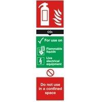 Veiligheidsbord, koolstofdioxide brandblusser, 280 x 90 mm, PVC- (SR71139)