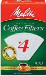 Melitta 624102 100-Pack #4 White Cone Coffee Filters - Quantity 12 Coffee Filters -