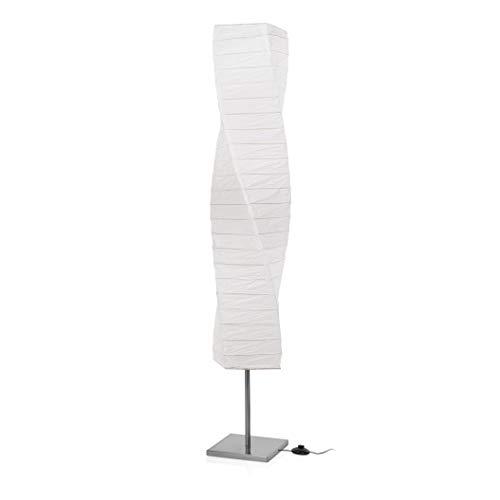 Lampada da pavimento Smartwares 6000.040 Twister - Acciaio spazzolato - Carta - Bianca, acciaio;vetro