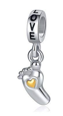 WAY2BB – Ciondolo con perla da donna per nascita, piccolo piede placcato argento inciso, compatibile con braccialetti e collane con ciondoli europei, regalo per San Valentino 2019