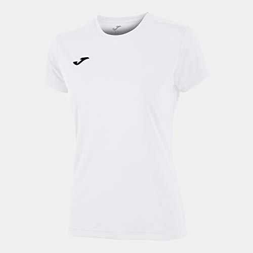 Joma Combi Woman M/C Camiseta Deportiva para Mujer de Manga Corta y Cuello Redondo, Blanco (White)