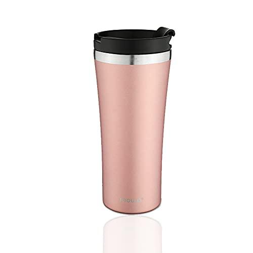 moulo Core Thermobecher aus Edelstahl, 470 ml Isolierbecher in rosé, Kaffeebecher to go, auch für die Tee geeignet, auslaufsicher, Rosè