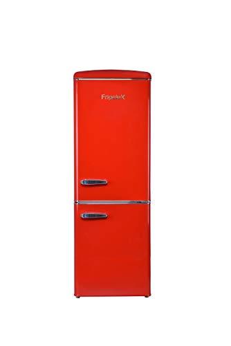 FrigeluX CB255RRA++ - Frigorifero combinato con 2 porte, 255 l, di cui congelatore 63 L, sbrinamento automatico, posa libera, stile vintage, colore: Rosso