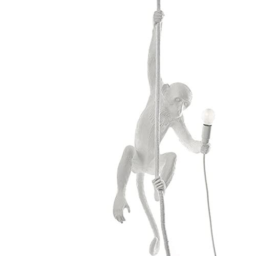 HTZ-M Monkey Candelabro, Lámpara De Techo Decorativa E27 Lámpara Colgante con Cuerda Luces Colgantes De Resina para Sala De Estar Comedor Dormitorio Tienda De Ropa Negro