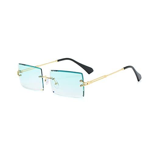 LUOXUEFEI Gafas De Sol Gafas De Sol Cuadradas Sin Montura Mujer Gafas De Sol Rectangulares De Color Azul Verde Para Hombre
