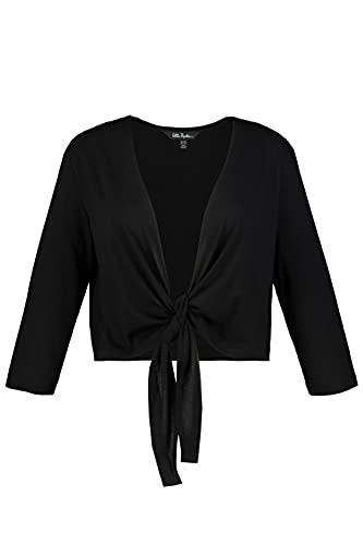 Ulla Popken Damen große Größen Übergrößen Plus Size Bolero, Kurze Jacke, Jersey, 3/4-Arm, Saumknoten schwarz 46+ 794514100-46+