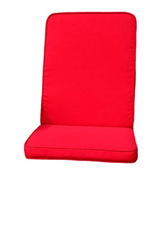 Field & Hawken – Red Outdoor Chair Cushions with Back (Pack of 2) – Garden Chair Cushions High Back with Comfortable 50mm Filling, Removable Quick Drying High Back Garden Chair Cushions Covers for Easy Care and 180gsm Hard-Wearing Vibrant Colour Fabric