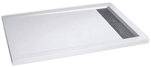 Bernstein Badshop Duschtasse rechteckig Mineralguss-Duschwanne 1280BW Edelstahl - Weiß glänzend - 120x80x4,5cm