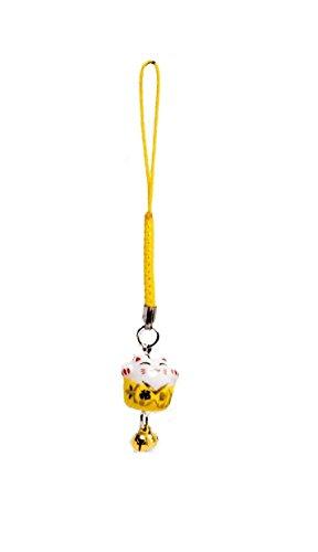 Pamai Pai® Keramik Anhänger Gelb Glückskatze Maneki Neko Winkekatze Katze Handyanhänger
