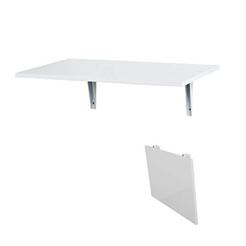SoBuy FWT21-W,Tavolo da Muro Pieghevole,Due Supporti,60 * 40 cm, Bianco,