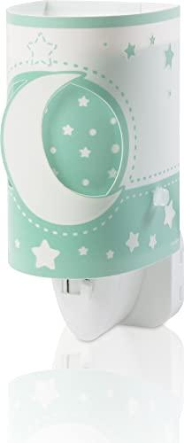 Dalber Moon Light Lámpara Infantil Luz Noche Quitamiedos Enchufe LED Luna y Estrellas Moonlight Verde, 0.3 W
