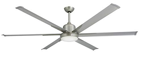 TroposAir Titan Brushed Nickel Large Industrial Ceiling Fan with DC-Motor, 72' Extruded Aluminum Blades, Integrated Light and Remote