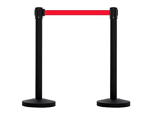 2 postes separadores negro con cinta extensible roja de 3 metros