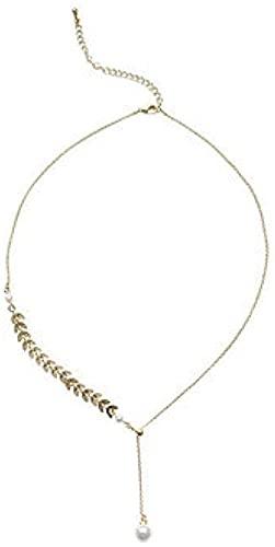 NC190 Temperamento Coreano Simple ins Viento frío Oreja de Trigo Collar de Perlas Collar Femenino Neto Cadena de Marea roja Cadena Simple