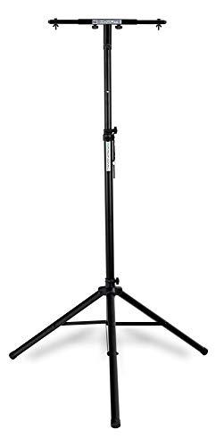 Showlite duale lichtstatief Economy Set (stabiel boksstatief van aluminium met driepoot-voet in set incl. bijpassende statiefadapter voor 2 koplampen) zwart