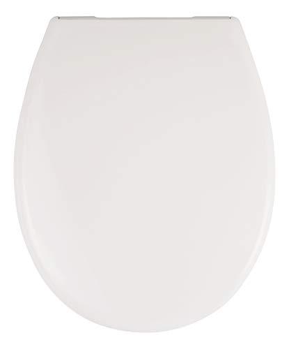 SITZPLATZ® WC-Sitz mit Absenkautomatik, Weiß, hochwertiger Duroplast Toilettensitz,Top-Fix Befestigung von oben, abnehmbar, Metall-Scharniere, WC-Deckel, ovale Standard O Form universal, 21615 9