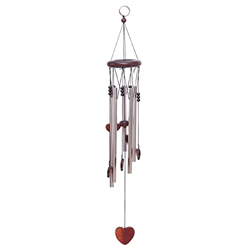 Windspiel für Draußen Glockenspiel für Garten und Balkon Klangspiel mit Holzelementen und tollem Klang (Herz)