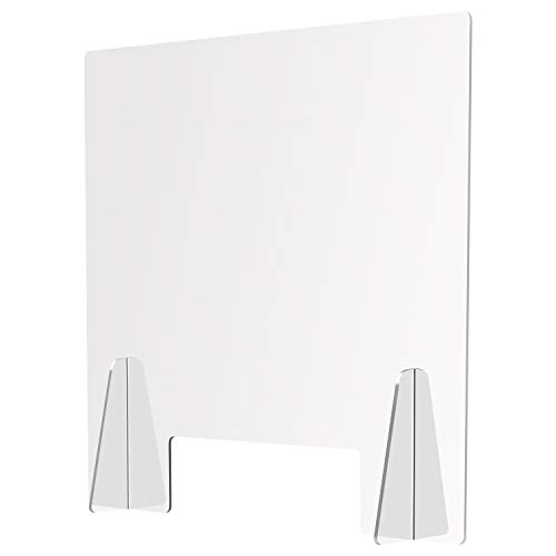 Sneeze Guard Plexiglass Barrier for Counter by MIRUSA - Crystal Clear Standing Shield Protector for Table Tops & Countertops at The Office, Reception Desks, Nail Salons, 25% Thicker Acrylic 24×24'