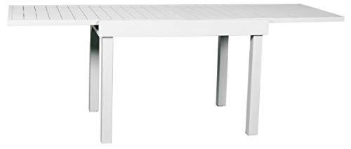 Gruppo Maruccia Tavolo per balconi e spazi ristretti allungabile in Alluminio Color Bianco con Piano a doghe arredo Esterni Tavolo Giardino Tavolo per Esterni