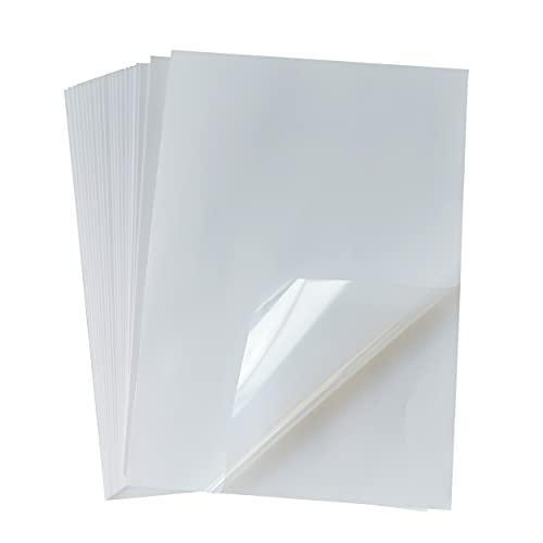 Papel adhesivo de vinilo transparente para imprimir, 25 hojas, tamaño A4, 21 x 29,7 cm, impermeable, de secado rápido para impresora de inyección de tinta/láser