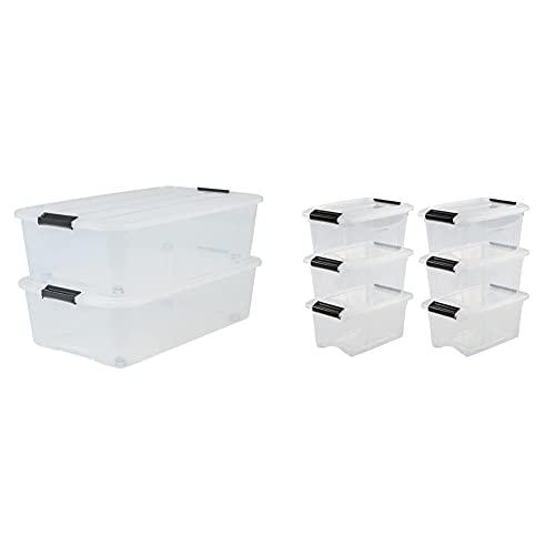 Iris Ohyama 135462 Set de 2 Boîtes de Rangement avec roulettes pour Dessous de Lit, Plastique, Transparent, 40 L & Lot de 6 boîtes de Rangement empilables-New Top Box NTB-5, Plastique, Transparent, 5L