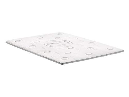 Memo surmatelas 90x190 cm - mémoire de forme - 40 kg/m3 - blanc et gris - 1 personne