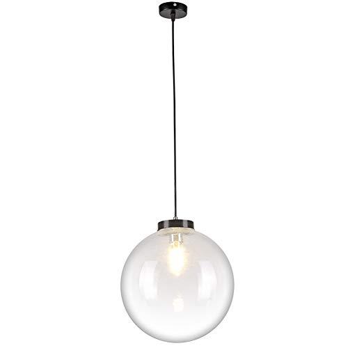 Luce pendente Lampada a sospensione a sfera in vetro dal design moderno Lampada da tavolo da pranzo vetro trasparente Lampada rotonda, E27 corridoio Soggiorno Sala da pranzo Bar Lampadario, Ø25CM