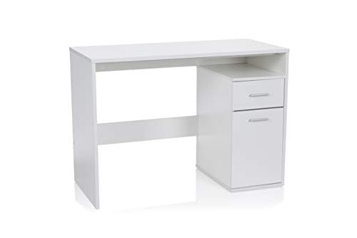 hjh OFFICE 705112 Schreibtisch mit Schublade und Tür 105 x 50 x 75 cm Basix Weiß Computertisch PC-Tisch platzsparend