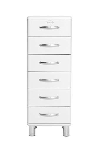 TENZO Malibu Designer Chiffonnier 6 tiroirs, Panneaux de Particules & MDF, Blanc, 41 x 41 x 111 cm
