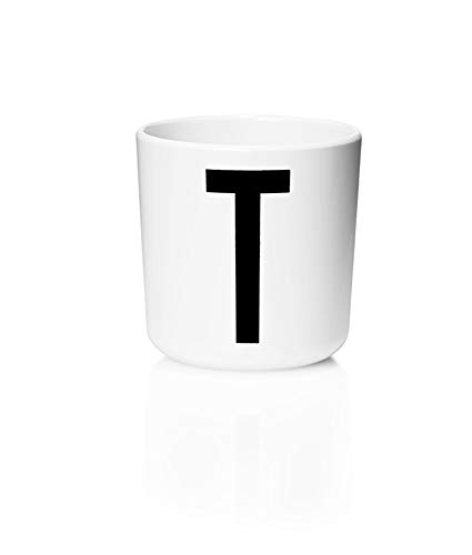 Design Letters Persönlicher Melamin Becher für Baby und Kinder (Weiß) - T - BPA-frei, BPS-frei, Multifunktionsbecher, erhältlich von A-Z, spülmaschinenfest, Zubehör ist separat erhältlich, 175 ml